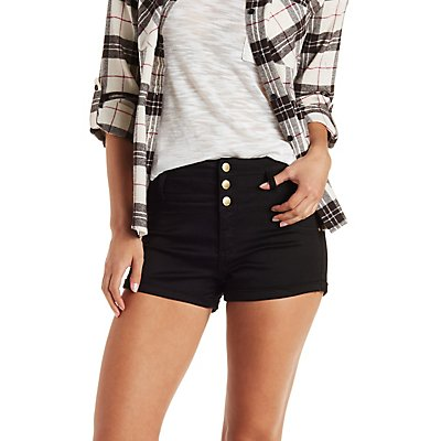 "Refuge ""Hi-Waist Shortie"" Colored Denim Shorts"