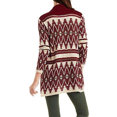 Longline Chevron Cardigan Sweater