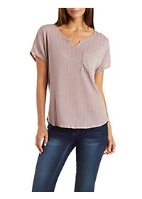 Slouchy Notched Pointelle Pocket Tee