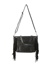 Large Faux Leather and Fringe Tote