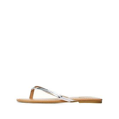 Seamed Metallic Thong Sandals