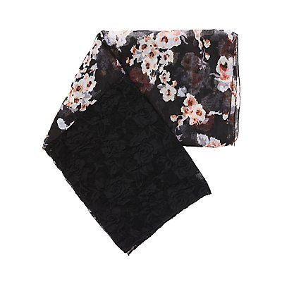 Lace & Woven Floral Infinity Scarf