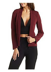 Open Front Notched Lapel Blazer