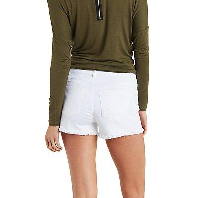 Refuge High-Rise Destroyed Denim Shorts