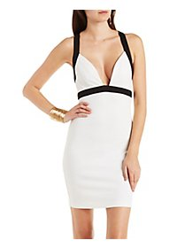 Cross-Back Color Block Bodycon Dress