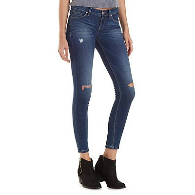 Sneak Peek Faded & Distressed Skinny Jeans