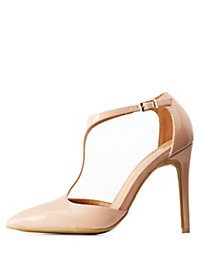 Patent Pointed Toe T-Strap Pumps