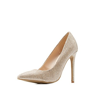 Metallic Glitter Mesh Pointed Toe Pumps