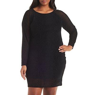 Plus Size Flocked Velvet Bodycon Dress
