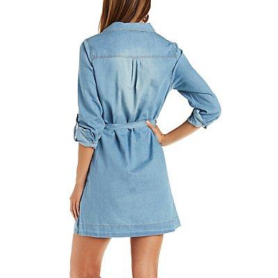 Chiqle Belted Chambray Shirt Dress