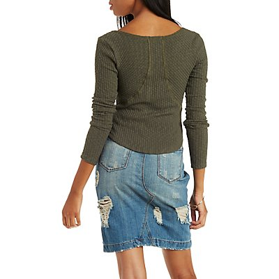 Ribbed & Slub Knit Henley Top with Pieced Back