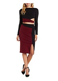 Long Sleeve Crop Top and Midi Skirt Hook-Up