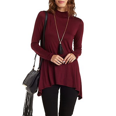 High-Neck Trapeze Tunic Top