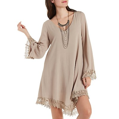 Long Sleeve Crochet-Trim Swing Dress