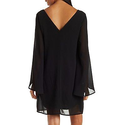 Chiffon Open Sleeve Shift Dress