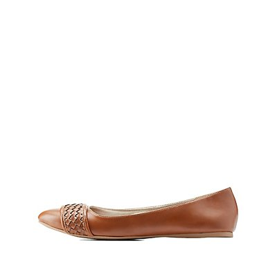 Qupid Braided Pointed Toe Flats