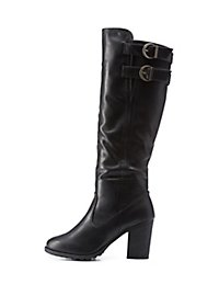 Bamboo Elastic-Gored & Belted Chunky Heel Boots