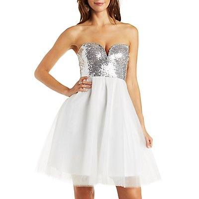Strapless Tulle & Sequin Skater Dress