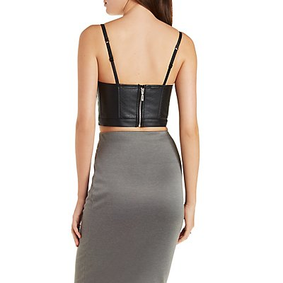 Strappy Faux Leather Notched Bustier