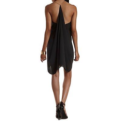 Chain Strap Cascade Shift Dress