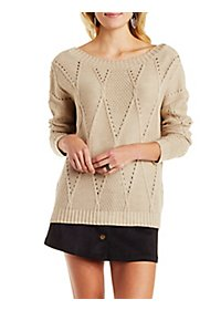 Wrap-Back Mixed Stitch Pullover Sweater