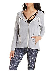 Zip-Up Drawstring Hoodie with Pockets