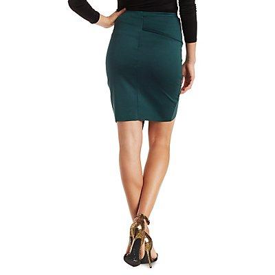 Paneled Asymmetrical Wrap Skirt