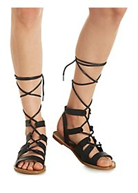 Qupid Lace-Up Gladiator Sandals