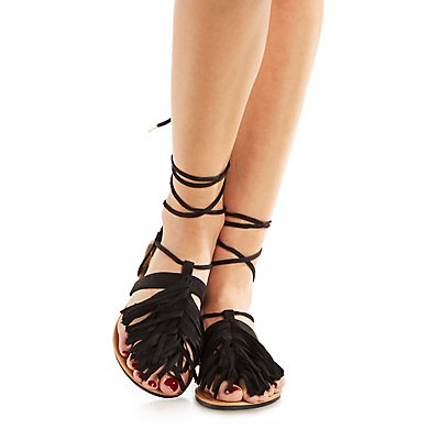 Qupid Fringed Lace-Up Thong Sandals