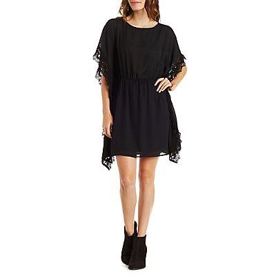 Crochet-Trim Chiffon Kaftan Dress
