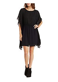 Crochet-Trim Chiffon Kaftan Dress