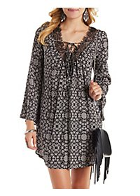 Lace-Up Plunging Floral Print Shift Dress