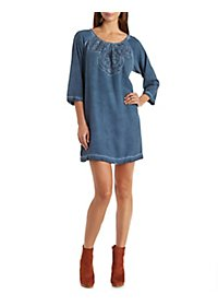 Skies Are Blue Embroidered Lace Shift Dress