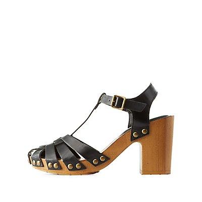 Studded T-Strap Fisherman Sandals