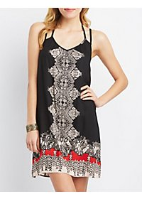 Printed T-Back Shift Dress