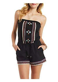 Embroidered-Trim Strapless Romper