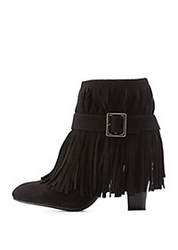 Qupid Chunky Heel Belted Fringe Booties