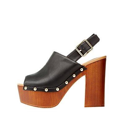 Qupid Peep Toe Platform Clog Heels