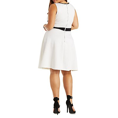 Plus Size Trixxi Lattice Front Skater Dress