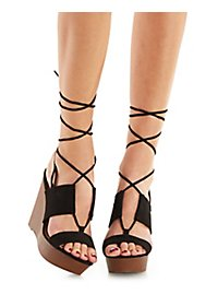 Qupid Lace-Up Wooden Wedge Sandals