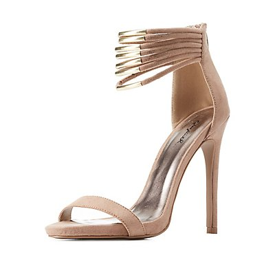 Qupid Gold-Plated Strappy Ankle Cuff Heels