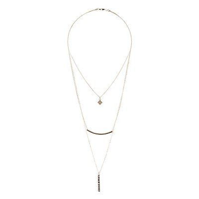 Layering Necklace & Hoop Earrings - 4 Pack
