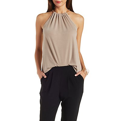 Ruched Chainlink Sleeveless Top