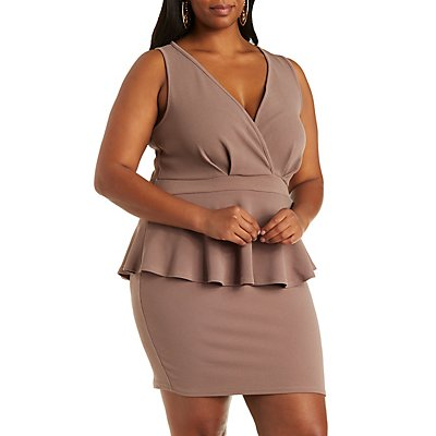 Plus Size Plunging Peplum Dress