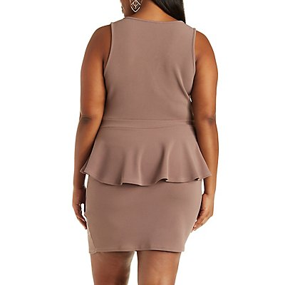 Plus Size Plunging Peplum Dress