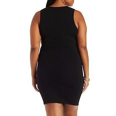 Plus Size Ribbed Knit Wrap Bodycon Dress
