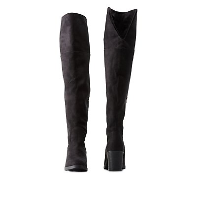 Bamboo Chunky Heel Over-the-Knee Boots | Charlotte Russe