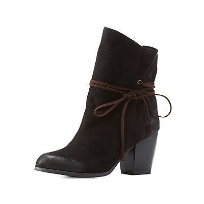 Qupid Slouchy Wrapped Chunky Heel Booties