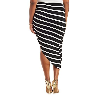Plus Size Striped Asymmetrical Skirt