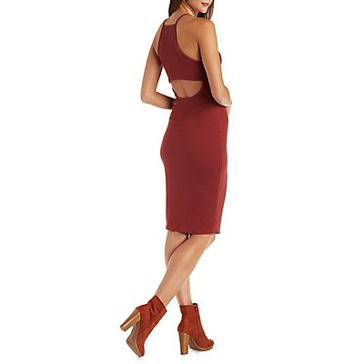 Ribbed Bib Front Bodycon Dress with Cut-Out